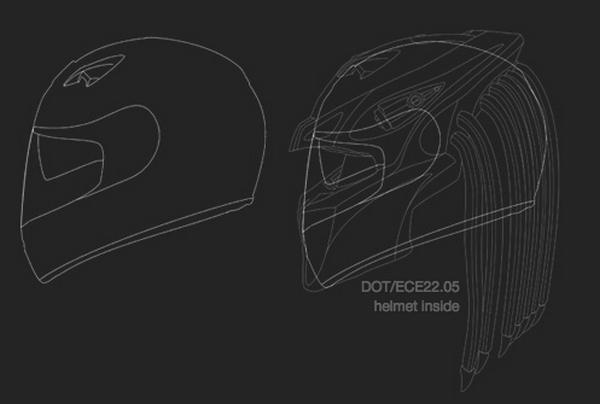 Шлем хищник от студии NLO Moto